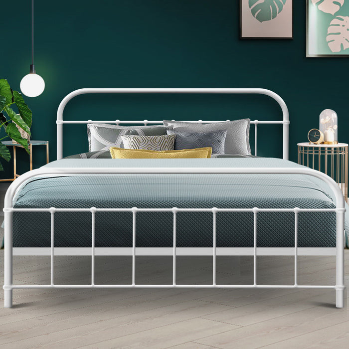 Queen Size Metal Bed Frame - White