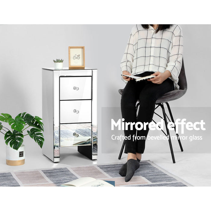 Mirrored Bedside table Drawers Furniture Mirror Glass Quenn Silver