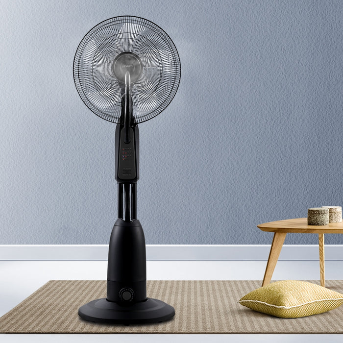 Mist Fan Pedestal Fans Cool Water Spray Timer Remote 5 Blades Black