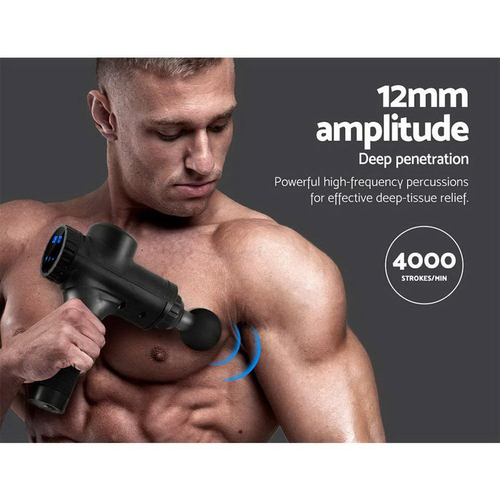 Massage Gun Electric Massager Vibration 6 Heads Muscle Therapy Percussion Tissue