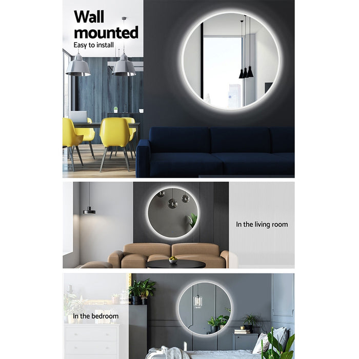 60CM LED Wall Mirror Bathroom Light Decorative Round Large Mirrors