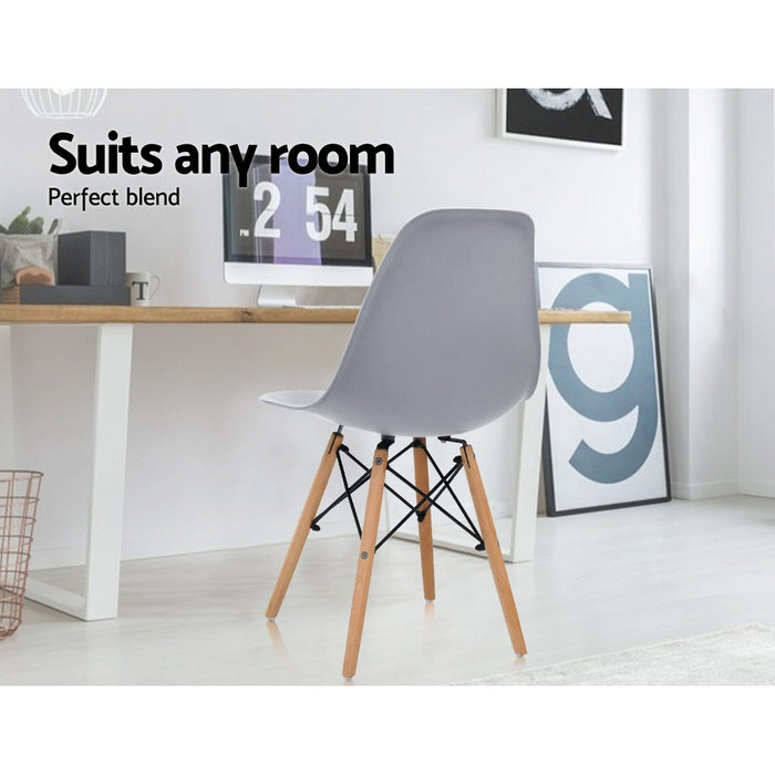 4x Retro Replica Eames Dining DSW Chairs Kitchen Cafe Beech Wood Legs Grey