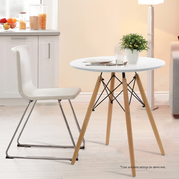 Round Dining Table 4 Seater 60cm White Replica Eames DSW Cafe Kitchen Retro Timber Wood MDF Tables