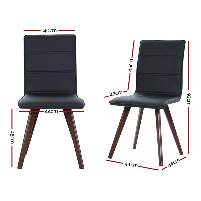 2x Dining Chairs Retro Chair New metal Legs High Back PU Leather Black