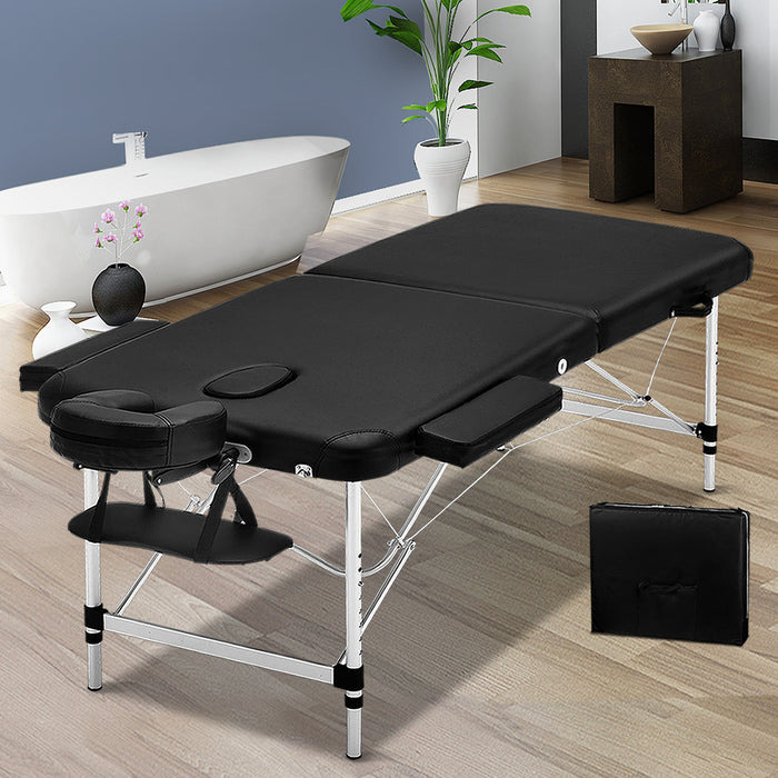 70cm Wide Portable Aluminium Massage Table Two Fold Treatment Beauty Therapy Black