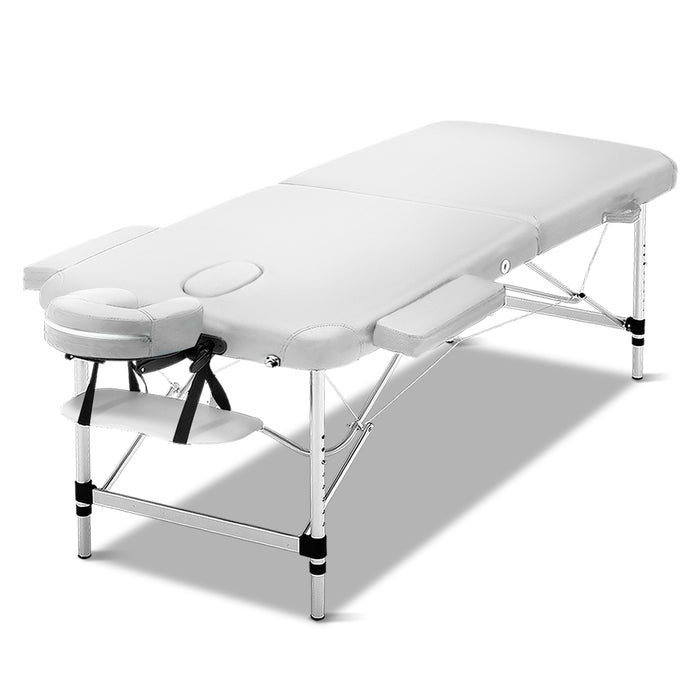 75cm Wide Portable Aluminium Massage Table Two Fold Treatment Beauty Therapy White