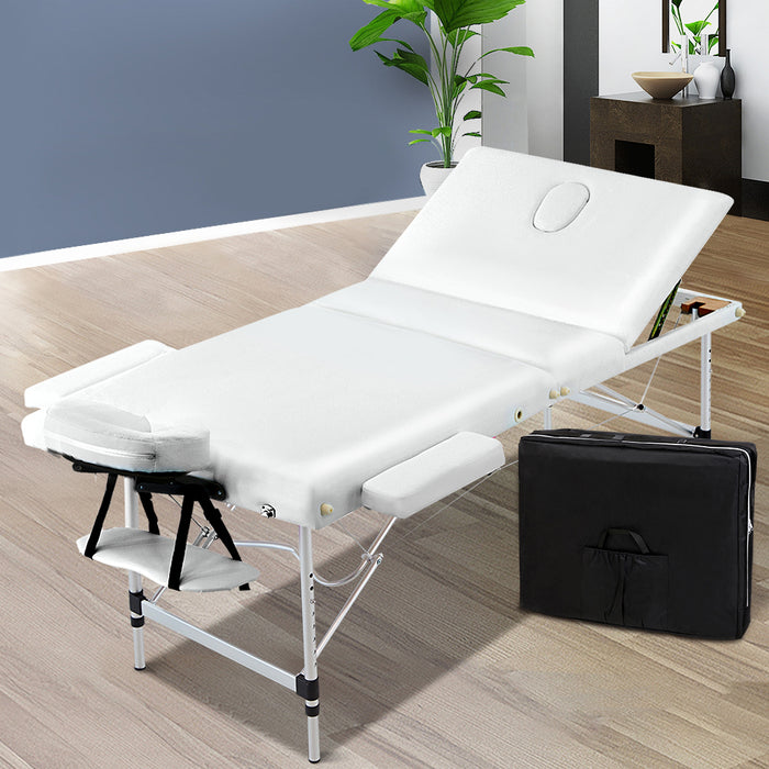 3 Fold Portable Aluminium Massage Table - White