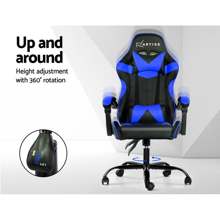 Gaming Office Chairs Computer Seating Racing Recliner Racer Black Blue