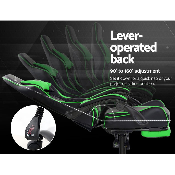 Office Chair Gaming Chair Computer Chairs Recliner PU Leather Seat Armrest Footrest Black Green
