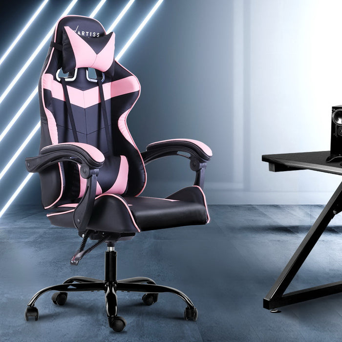 Office Chair Gaming Chair Computer Chairs Recliner PU Leather Seat Armrest Footrest Black Pink