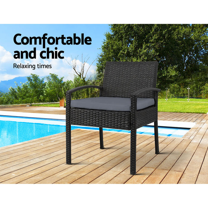 2x Outdoor Dining Chairs Wicker Chair Patio Garden Furniture Lounge Setting Bistro Set Cafe Cushion  Black