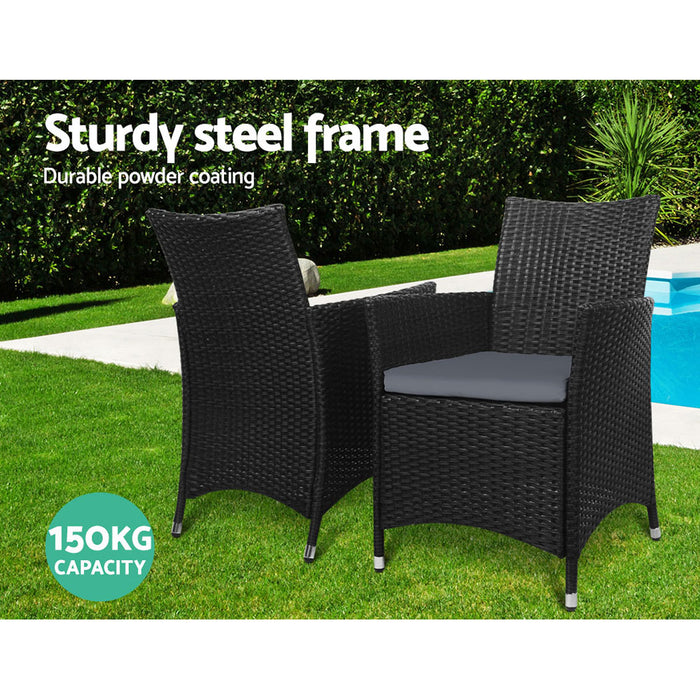Outdoor Furniture Dining Chair Table Bistro Set Wicker Patio Setting Tea Coffee Cafe Bar Set