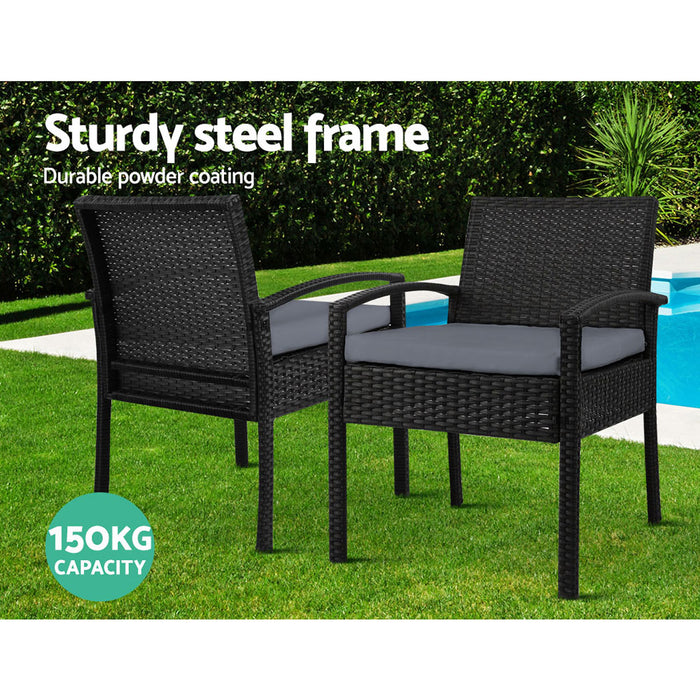 Outdoor Furniture Dining Chairs Wicker Garden Patio Cushion Black 3PCS Sofa Set Tea Coffee Cafe Bar Set