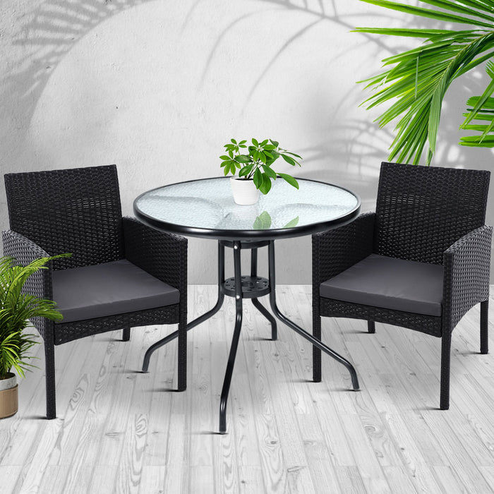Outdoor Bistro Chairs Patio Furniture Dining Chair Wicker Garden Cushion Tea Coffee Cafe Bar Set