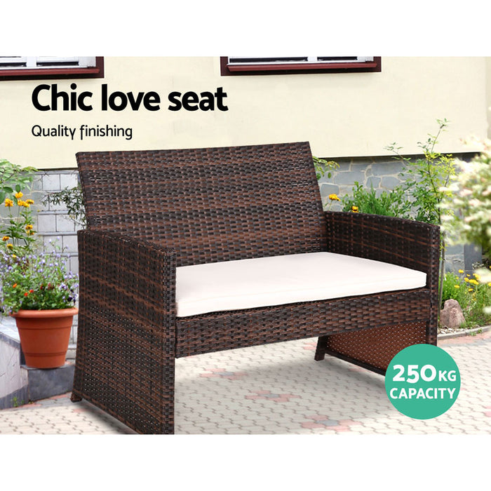 Set of 4 Outdoor Rattan Chairs & Table - Brown