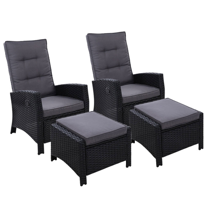 2PC Sun lounge Recliner Chair Wicker Lounger Sofa Day Bed Outdoor Chairs Patio Furniture Garden Cushion Ottoman