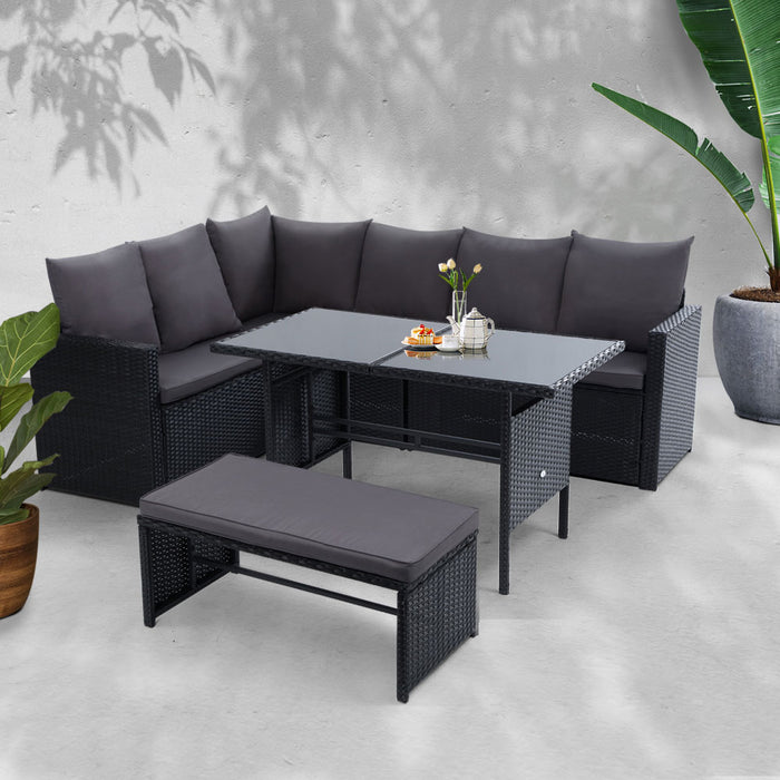 Outdoor Furniture Dining Setting Sofa Set Lounge Wicker 8 Seater Black