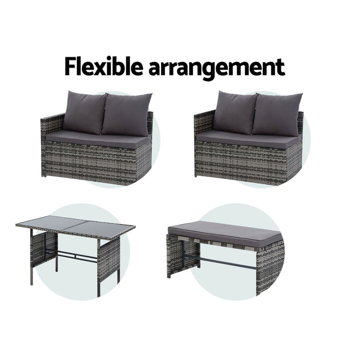 Outdoor Furniture Dining Setting Sofa Set Lounge Wicker 8 Seater Mixed Grey