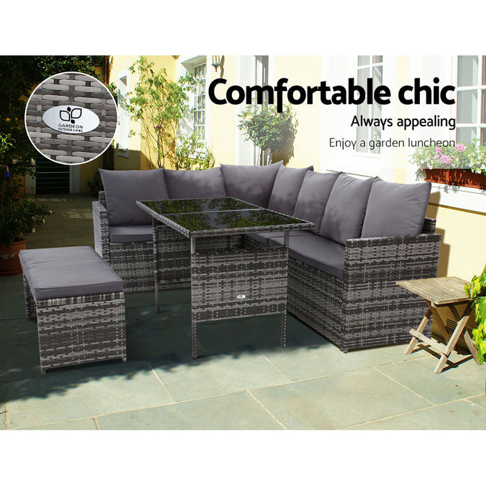 Outdoor Furniture Dining Setting Sofa Set Wicker 8 Seater Storage Cover Mixed Grey