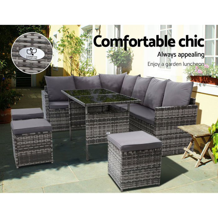 Outdoor Furniture Dining Setting Sofa Set Wicker 9 Seater Storage Cover Mixed Grey