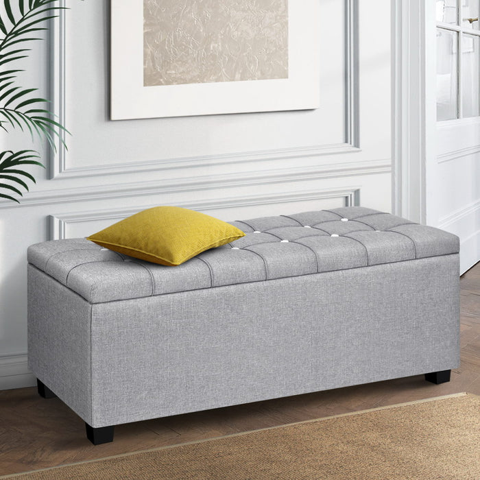 Blanket Box Storage Ottoman Fabric Foot Stool Grey