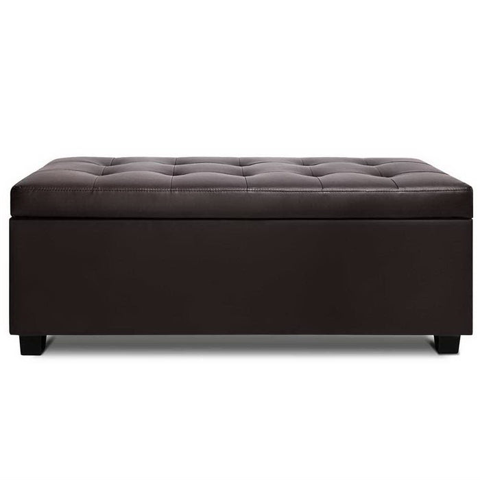 PU Leather Storage Ottoman - Brown