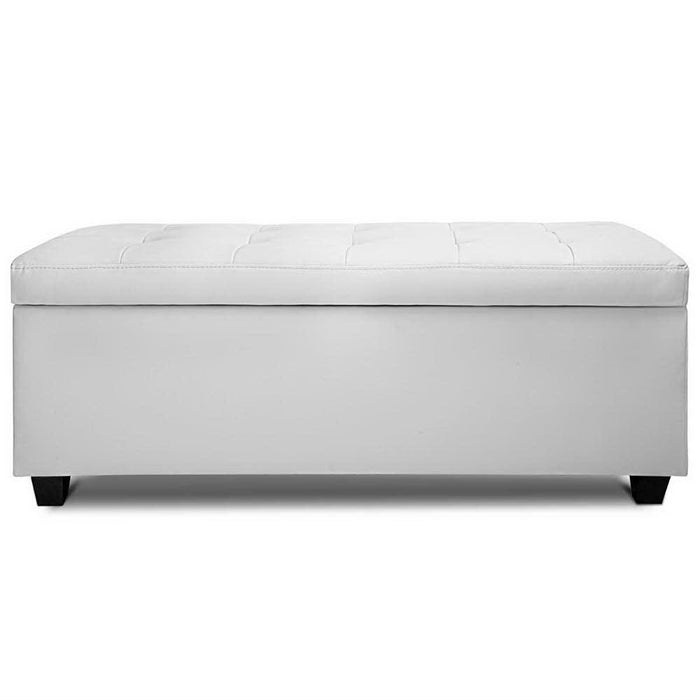 Large PU Leather Storage Ottoman - White