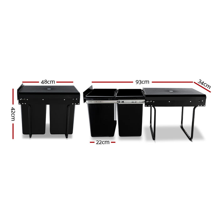 2x20L Pull Out Bin - Black