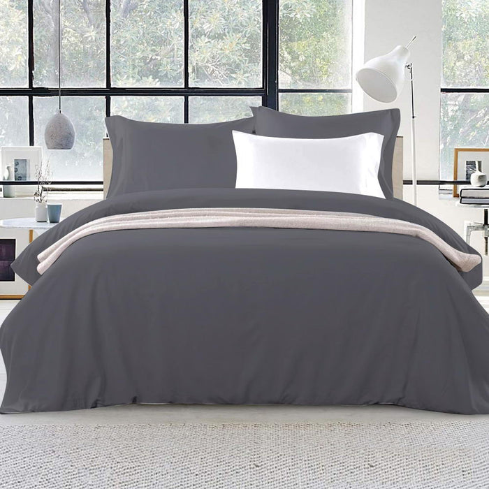 Bedding King Size Classic Quilt Cover Set - Charcoal