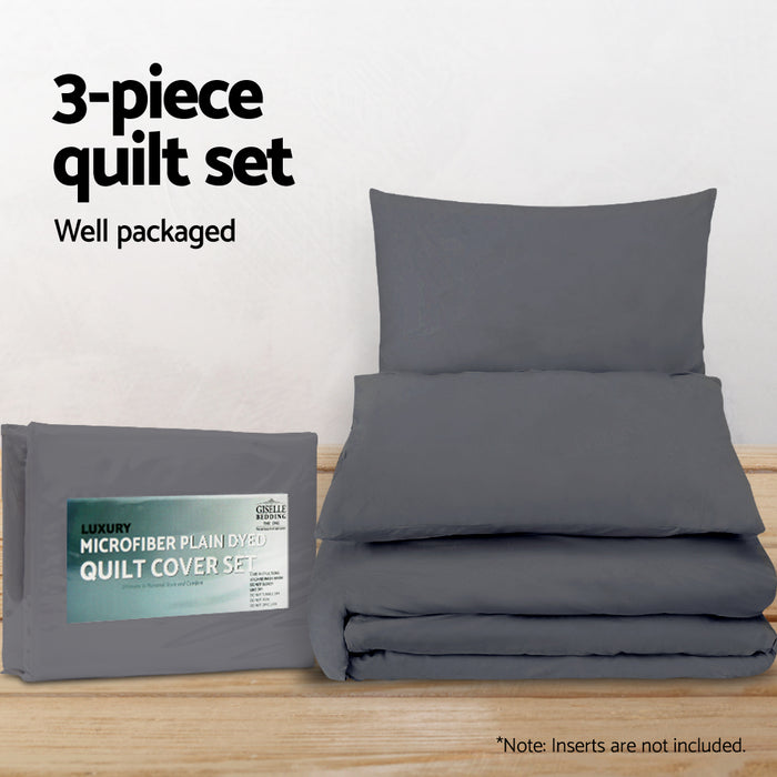 Bedding Queen Size Classic Quilt Cover Set - Charcoal