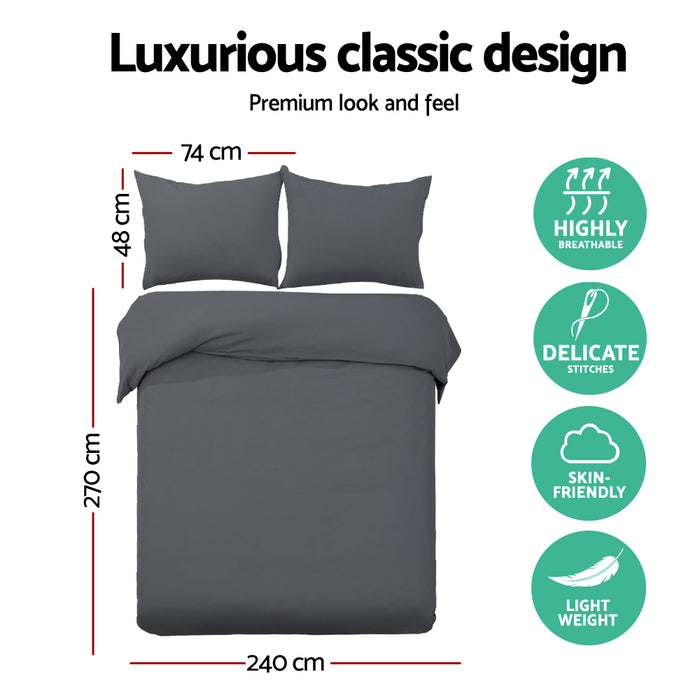 Bedding Super King Size Classic Quilt Cover Set - Charcoal