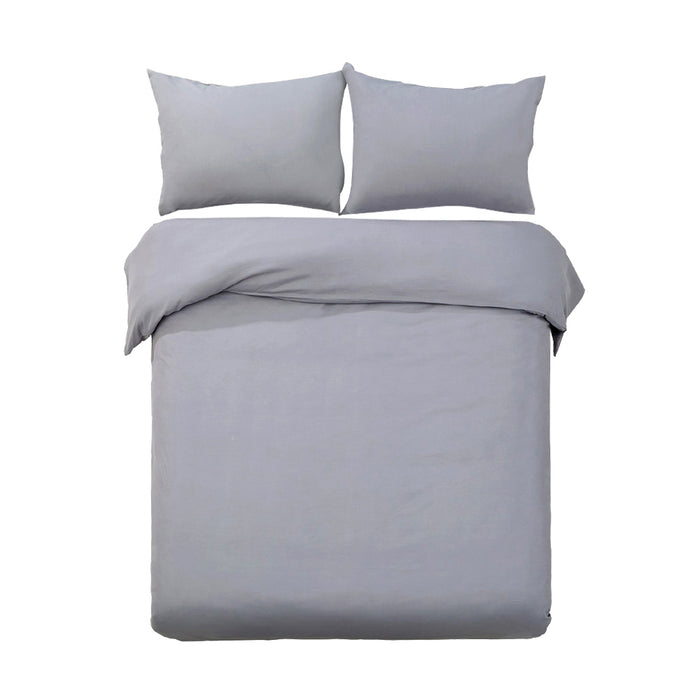 Bedding King Size Classic Quilt Cover Set - Grey