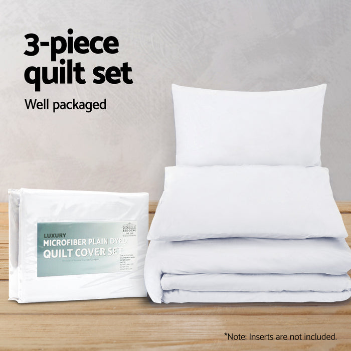 Bedding Super King Classic Quilt Cover Set - White