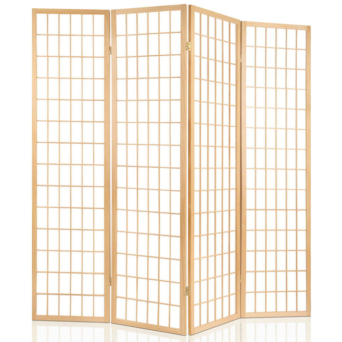 6 Panel Room Divider Privacy Screen Foldable Pine Wood Stand Natural