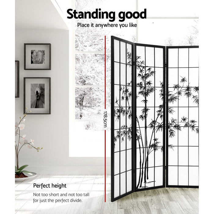 4 Panel Room Divider Screen Privacy Dividers Pine Wood Stand Shoji Bamboo Black White