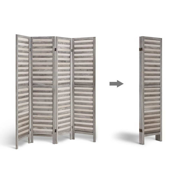 4 Panel Foldable Wooden Room Divider - Grey