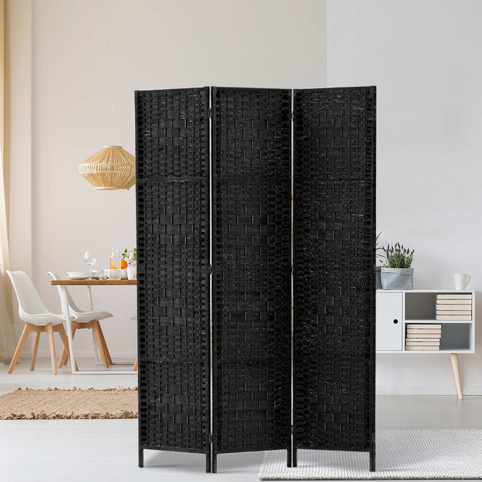 3 Panel Room Divider Privacy Screen Rattan Woven Wood Stand Black
