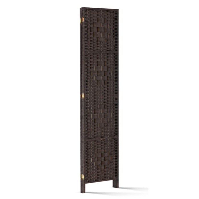 3 Panel Room Divider Privacy Screen Rattan Woven Wood Stand Brown