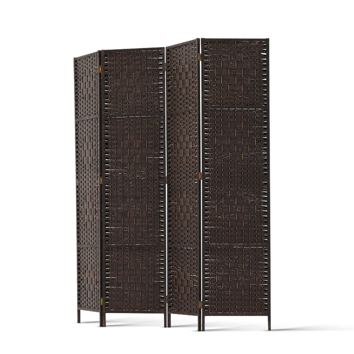 4 Panel Room Divider Privacy Screen Rattan Woven Wood Stand Brown