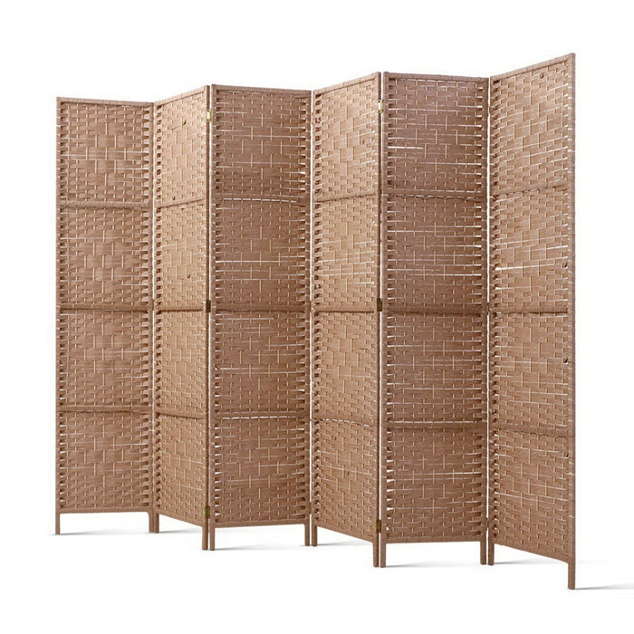 6 Panel Room Divider Screen Privacy Rattan Timber Foldable Dividers Stand Hand Woven