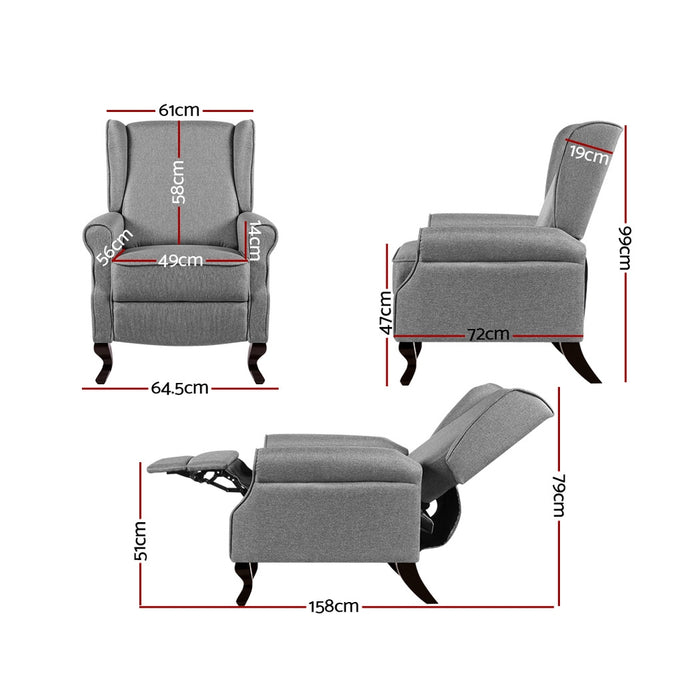 Recliner Chair Luxury Lounge Armchair Single Sofa Couch Fabric Grey