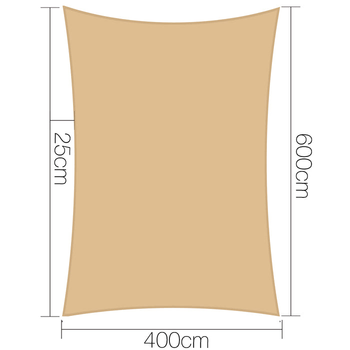 4 x 6m Waterproof Rectangle Shade Sail Cloth - Sand Beige