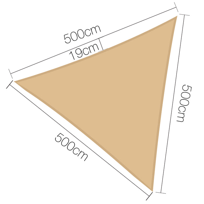 5 x 5 x 5m Waterproof Triangle Shade Sail Cloth - Sand Beige