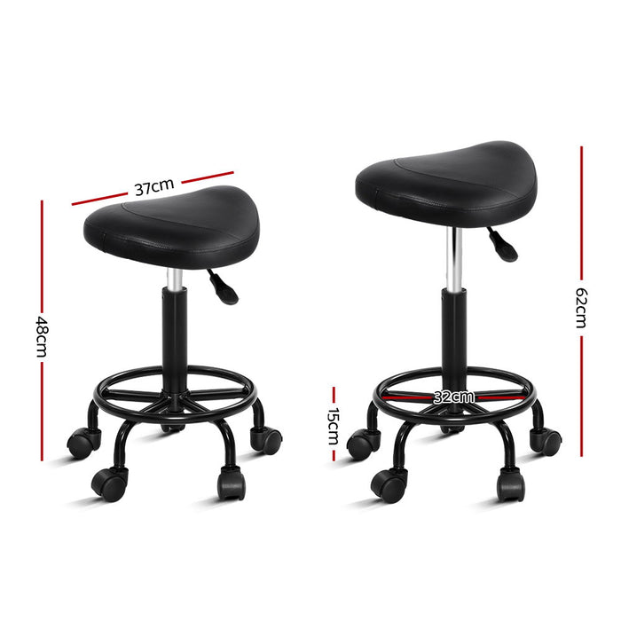 Salon Stool Black Swivel Barber SADDLE Hairdressing Bar Chairs Gas Lift