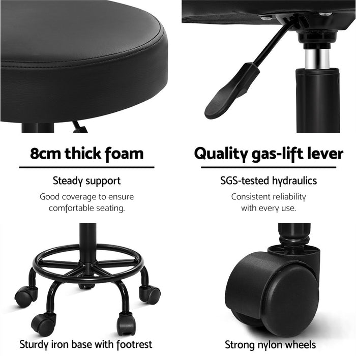 Round Salon Stool Stools Black Swivel Barber Hair Hydraulic Chairs Lift
