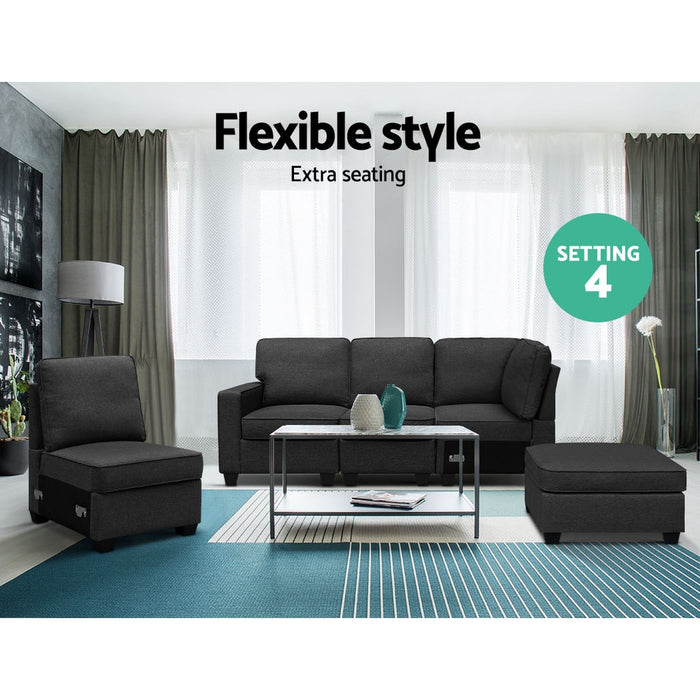 Sofa Lounge Set 5 Seater Modular Chaise Chair Suite Couch Dark Grey