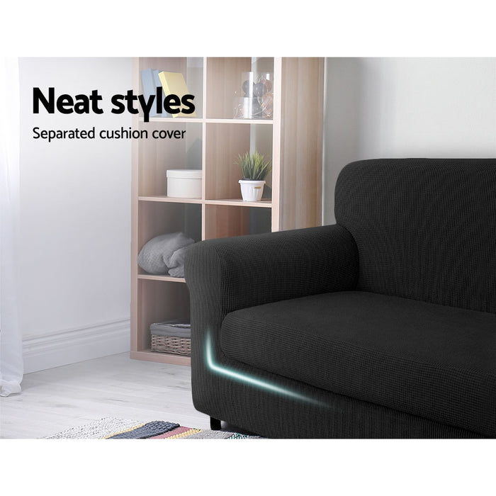 2-piece Sofa Cover Elastic Stretch Couch Covers Protector 2 Steater Black