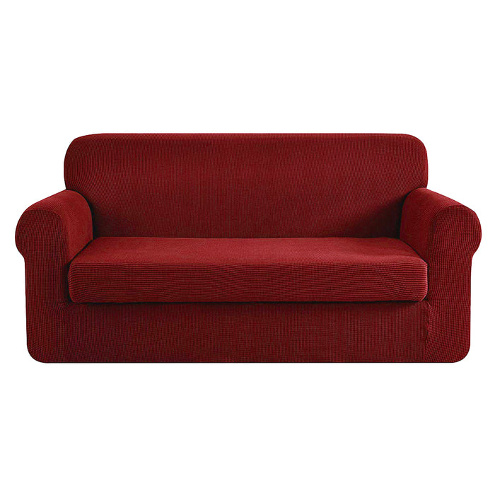 2-piece Sofa Cover Elastic Stretch Couch Covers Protector 3 Steater Burgundy