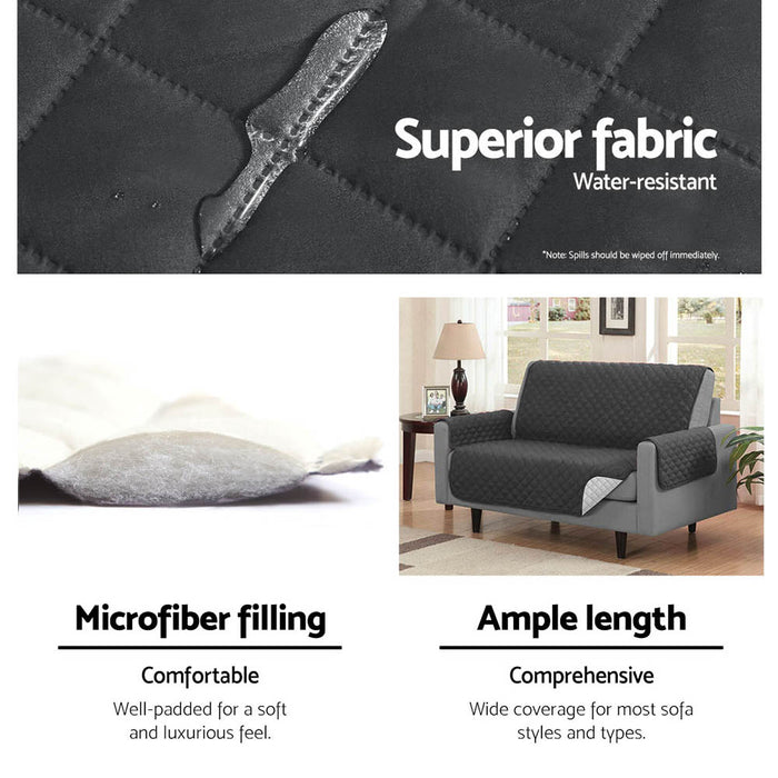 Sofa Cover Quilted Couch Covers Protector Slipcovers 1 Seater Dark Grey