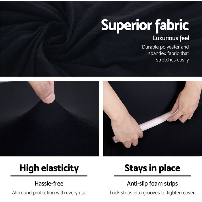 Sofa Cover Elastic Stretchable Couch Covers Black 3 Seater